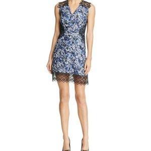 Elie Tahari Blue Wren Floral Print Crochet Dress